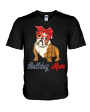 Womens Bulldog Mom Cute Bulldog With Sunglasses V-Neck T-Shirt thumbnail