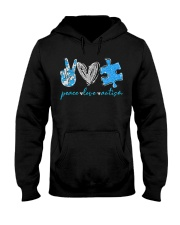 Peace Love Autism T-Shirt Hooded Sweatshirt front