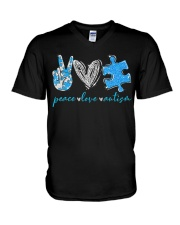 Peace Love Autism T-Shirt V-Neck T-Shirt thumbnail