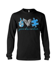 Peace Love Autism T-Shirt Long Sleeve Tee thumbnail