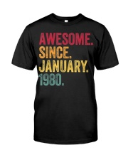 40 Years Old Awesome Since January 1980 40th Classic T-Shirt thumbnail