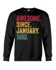 40 Years Old Awesome Since January 1980 40th Crewneck Sweatshirt thumbnail