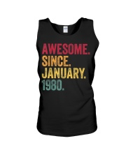 40 Years Old Awesome Since January 1980 40th Unisex Tank thumbnail