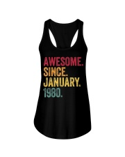 40 Years Old Awesome Since January 1980 40th Ladies Flowy Tank thumbnail