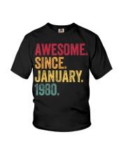 40 Years Old Awesome Since January 1980 40th Youth T-Shirt thumbnail
