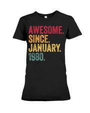 40 Years Old Awesome Since January 1980 40th Premium Fit Ladies Tee thumbnail
