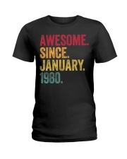 40 Years Old Awesome Since January 1980 40th Ladies T-Shirt thumbnail