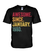 40 Years Old Awesome Since January 1980 40th V-Neck T-Shirt thumbnail