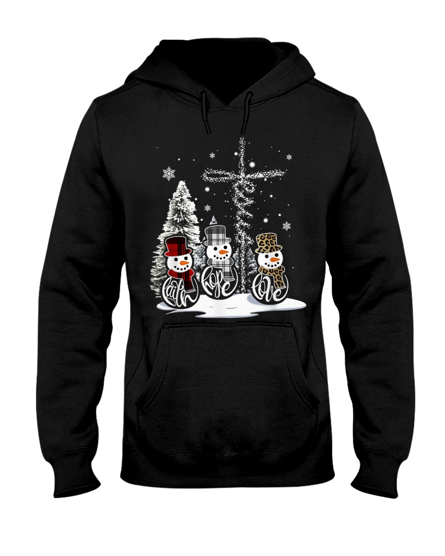 Faith Hope Love Hippie Peace Snowman Chistmas Hooded Sweatshirt