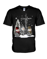 Faith Hope Love Hippie Peace Snowman Chistmas V-Neck T-Shirt tile