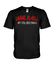 Savage As Hell Viking But I Still Need Cuddles V-Neck T-Shirt thumbnail