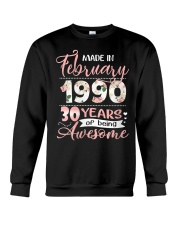 Made In February 1990 30 Yrs Old 30th Birthday Crewneck Sweatshirt thumbnail