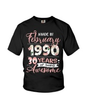 Made In February 1990 30 Yrs Old 30th Birthday Youth T-Shirt thumbnail