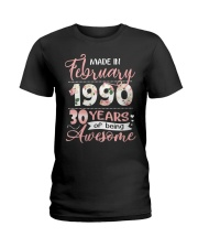 Made In February 1990 30 Yrs Old 30th Birthday Ladies T-Shirt thumbnail