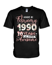 Made In February 1990 30 Yrs Old 30th Birthday V-Neck T-Shirt thumbnail