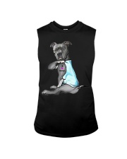 Funny Dog Pitbull I Love Mom Tattoo Gift T-Shirt Sleeveless Tee thumbnail