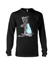 Funny Dog Pitbull I Love Mom Tattoo Gift T-Shirt Long Sleeve Tee thumbnail