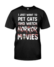 I Just Want To Pet Cats And Watch Horor Movie Premium Fit Mens Tee thumbnail