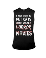 I Just Want To Pet Cats And Watch Horor Movie Sleeveless Tee thumbnail