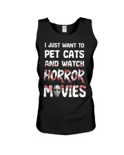 I Just Want To Pet Cats And Watch Horor Movie Unisex Tank thumbnail