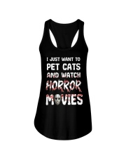 I Just Want To Pet Cats And Watch Horor Movie Ladies Flowy Tank thumbnail