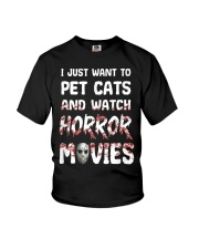 I Just Want To Pet Cats And Watch Horor Movie Youth T-Shirt thumbnail