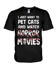 I Just Want To Pet Cats And Watch Horor Movie V-Neck T-Shirt thumbnail