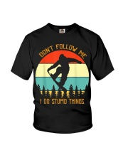 Don't follow me I do stupid things Snowboarding Youth T-Shirt thumbnail