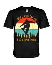 Don't follow me I do stupid things Snowboarding V-Neck T-Shirt thumbnail