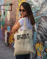 Don't Judge my Rottweilers Tote Bag Tote Bag lifestyle-totebag-front-1