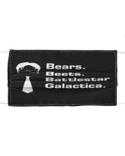 Bears Beets Battlestar Cloth face mask front