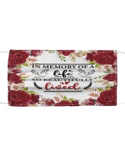 In the memory of a life Cloth face mask front