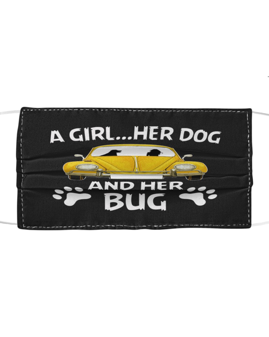 A girl a dog and her bug Cloth face mask