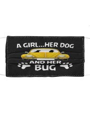 A girl a dog and her bug Cloth face mask front