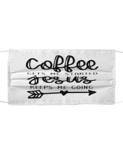 Coffee gets me started Cloth face mask front