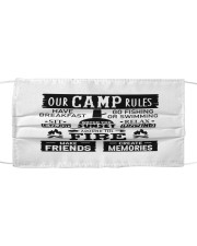 Our camp rules Cloth face mask front