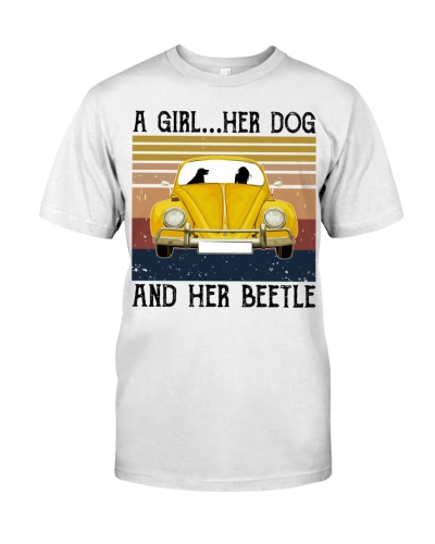 A girl a dog and her beetle