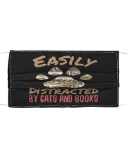 cats and books Cloth face mask front