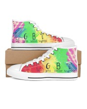 Life Gets Better Together Women's High Top White Shoes outside-right-inside-right