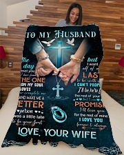 "To my husband Large Fleece Blanket - 60"" x 80"" aos-coral-fleece-blanket-60x80-lifestyle-front-04"
