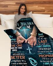 "To my husband Large Fleece Blanket - 60"" x 80"" aos-coral-fleece-blanket-60x80-lifestyle-front-05"