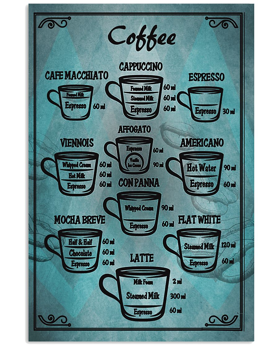 Blue vintage coffee poster 11x17 Poster