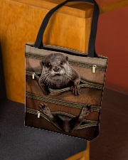 Otter Leather Pattern Print All-over Tote aos-all-over-tote-lifestyle-front-02