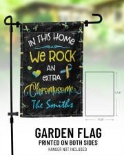 "In this home we rock an extra chromosome 11.5""x17.5"" Garden Flag aos-garden-flag-11-5-x-17-5-lifestyle-front-01"