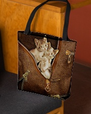 Lovely Cats Leather Pattern Print All-over Tote aos-all-over-tote-lifestyle-front-02