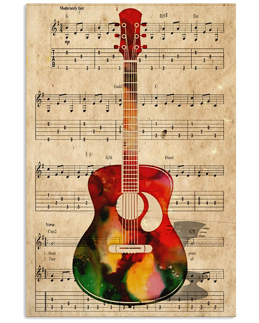 Watercolor guitar 11x17 Poster