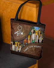 Teach love inspire leather pattern print All-over Tote aos-all-over-tote-lifestyle-front-02
