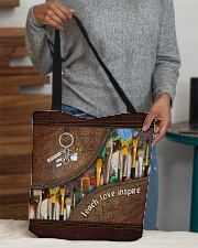 Teach love inspire leather pattern print All-over Tote aos-all-over-tote-lifestyle-front-10
