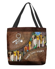 Teach love inspire leather pattern print All-over Tote front