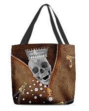 King of skull Leather pattern print All-over Tote back